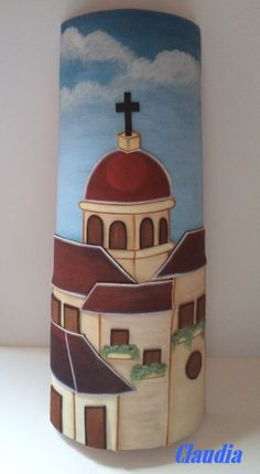 Tile Crafts, Clay Crafts, Clay Wall Art, Clay Tiles, Country Paintings, Bottle Painting, Tile Art, Fabric Painting, Paint Designs