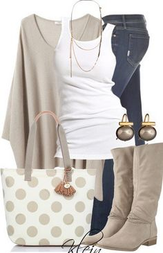White and Beigh Outfit Look, Loose Sweater, Jeans and Knee-length Boots