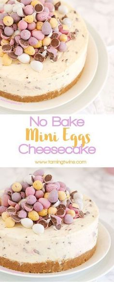 THE Easter dessert! *WITH VIDEO GUIDE* This No Bake Mini Egg Cheesecake is light and easy peasy, packed with Easter chocolate treats. A crumbly biscuit base, topped with whipped cream and cream cheese, absolutely delicious and easy enough for even the beg Mini Desserts, Easy Desserts, Dessert Recipes, Baking Desserts, Diabetic Desserts, Health Desserts, Desserts With No Eggs, Dessert Ideas, Cake Ideas