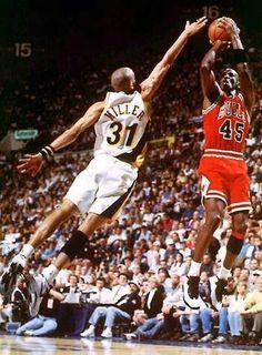 Reggie Miller and Michael Jordan (Chicago Bulls)