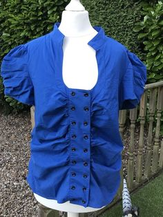 620e0d8dd44 Ladies Blue Double Button Front Pleat Sleeve Horseshoe Neck Size 14 New  Look Top #fashion