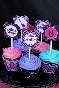 """Photo 20 of Rock Star Birthday / Birthday """"Halle's Rockstar Party"""" Rockstar Birthday, Girl Birthday, Birthday Parties, Karaoke Party, Music Party, Candy Jar Labels, Pop Star Party, Party Deco, Girl Cupcakes"""
