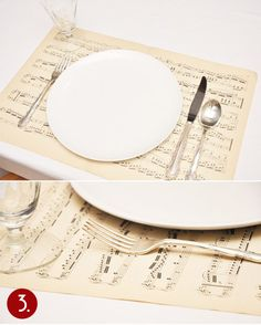 Music sheets as place mats! Neat idea for a Christmas wedding