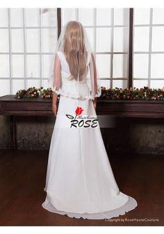 Wedding Veil Bridal Veil One Layer Tulle Veil Waist Length No Comb Style BV157 - Wedding Veil