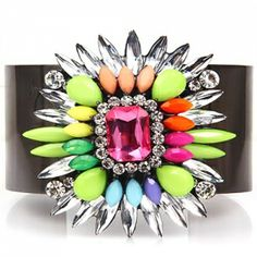 Can you handle the colour? Bold and bright crystal summer colours rainbow embellished bracelet sparkle cuff. Gem jewellery that loves to be worn to the beach or evening glam as it sparkles, shimmers and shines. Pin It, Bling It, Style It.  www.londonstyle.net/product/rainbow-coloured-cuff-bracelet