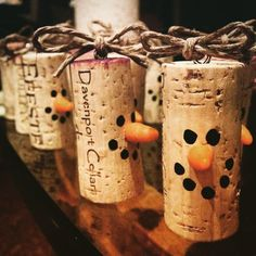Cork snowmen ornaments (or wine charms or cute decor!) More