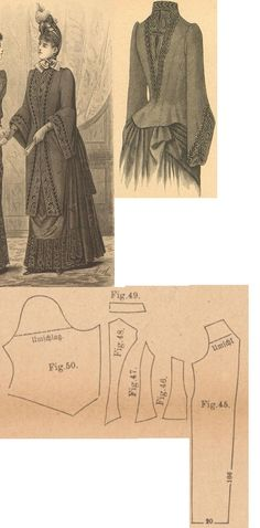 Der Bazar 1889: Wintertime mantle from brownish-red cloth with black plush overlay (with wadding and brownish-red atlas lining); 45 front part, 46. and 47. side gores, 48. back part, 49. collar in half size, 50. sleeve