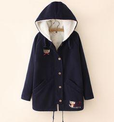 Japanese cute cat wool hooded jacket coat