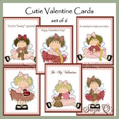 Valentine Cutie cards set of 6  Digital Printable by SuzieQsCrafts