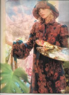 """Biba smocks, 1971 from """"19"""" magazine 70s vintage fashion floral shift tent dress puff sleeves bow tie neck matching hat red black model magazine print ad"""