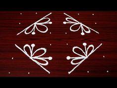 easy deepam muggulu with shanku *simple rangoli designs with dots * easy kolam with dots* Indian art - YouTube