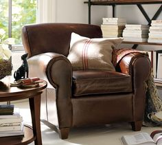 PB Look-Alikes: Pottery Barn Manhattan Leather Chair and Ottoman Brown Couch Living Room, New Living Room, Living Room Chairs, Living Room Furniture, Living Room Decor, Dining Chairs, Barn Living, Lounge Chairs, Small Living
