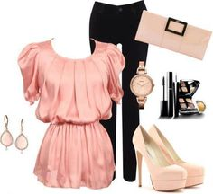 See more Black pent, wrist watch, High heel shoes, blouse and eartops for ladies