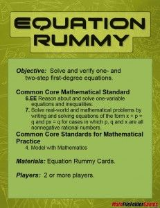 Equation Rummy: Solving Equations Game  - http://www.mathfilefoldergames.com/equation-rummy-solving-equations-game/ #MathGame FREE