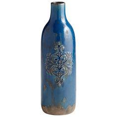 "Terra cotta vase with blue glaze finish. Dimensions: 14.5""h x 5""d"