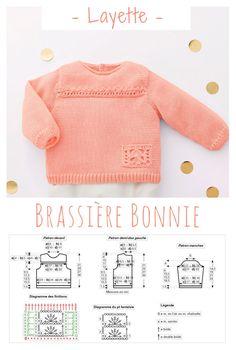 Une jolie brassière toute douce pour bébé dont la couleur Sorbet lui mettra du rose aux joues ! #tricot #layette Cardigan Bebe, Knitted Baby Cardigan, Baby Knitting, Crochet Baby, Tricot Baby, Baby Kids, Rose, Diy, Fashion