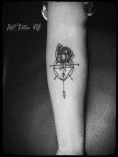 Graphic dotwork rose tattoo
