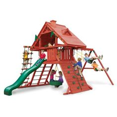 Gorilla Playsets Sun Palace I Wood Swing Set with Tire Swing, Rock Wall, and Wood Roof Cedar Swing Sets, Wood Swing Sets, Backyard Swing Sets, Backyard Playset, Outdoor Playset, Fun Backyard, Cedar Posts, Playground Set, Gardens