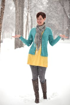 Already Pretty outfit featuring robins egg blue cardigan, yellow tunic, gray leggings, gray pattern scarf, gray Diesel Go-go boots