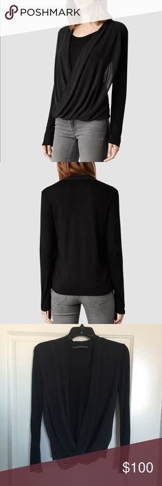 ⬇️AllSaints Riley Top in Black Color/Black. Long sleeve double layered drapey top. Size XS. 🚫 trades All Saints Tops Tees - Long Sleeve