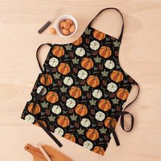 Pumpkin Leaves, Apron Designs, Black Ties, Fall Pumpkins, Long Black, Print Design, Bbq, Women's Fashion, Autumn