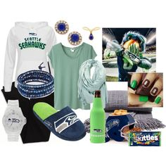 """""""Getting Ready and Comfortable for the Seahawk's Playoffs"""" by cindiawb on Polyvore"""