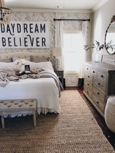 Perfect Master Bedroom Decor Ideas That Will Relax You - Your bedroom isn't simply one more space in your hose. It is where you rest, loosen up and unwind. The decor of your bedroom should coordinate the rea. Farmhouse Master Bedroom, Master Bedroom Design, Cozy Bedroom, Home Decor Bedroom, Bedroom Furniture, Bedroom Designs, Romantic Bedroom Decor, Master Bedrooms, Cozy Master Bedroom Ideas
