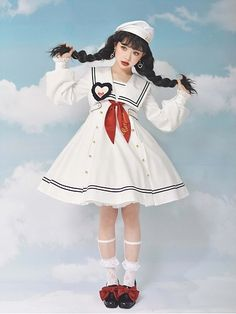 Girl Sailor Lolita Dress OP by CAT COCOON Harajuku Fashion, Japan Fashion, Kawaii Fashion, Lolita Fashion, Cute Fashion, Retro Fashion, Sailor Outfits, Girl Outfits, Cute Outfits