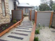 """Image result for """"colorbond and timber"""" fence"""