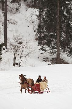 'During the schlitteda, couples drive their horse through snow in Switzerland. ' by Kristel Richard
