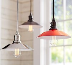 PB Classic Pendant - Metal Flared | Pottery Barn...would look good 3 of them above the dining table