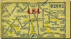 Tramvay bileti ve bilet üzerinde tramvay güzergahının Fransızca ve Osmanlıca isimleri...1900 başları.