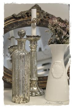 tarnished silver and mercury glass.