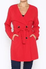 Mod Red Trench Coat www.ShopTheShoppingBag.com