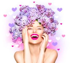 123RF - Millions of Creative Stock Photos, Vectors, Videos and Music Files For Your Inspiration and Projects. Facial Treatment, Skin Treatments, Lilac Flowers, Flowers In Hair, Fashion Models, Fashion Beauty, Skin Care Specialist, Happy Skin, Facial Cleansing
