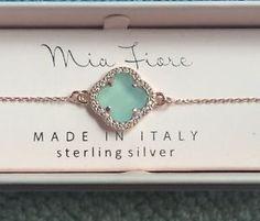 $33: Mia-Fiore-Italy-Rose-Gold-Aqua-Chalcedony-Crystal-Stone-Bracelet-NEW-IN-BOX