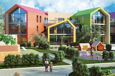 Kindergarten and developing center in the Residential Complex - Skazka - winners 2017 Competition Build School Project. Kinetic Architecture, Architecture Today, Architecture Building Design, Architecture Details, Kindergarten Interior, Kindergarten Design, Design Maternelle, School Building Design, Landscape Stairs