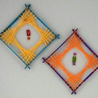 String Art Decorations (like a God's eye)  http://www.freekidscrafts.com/string_art_decorations-e48.html