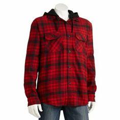 Chaps Plaid Hooded Fleece Shirt Jacket - Men
