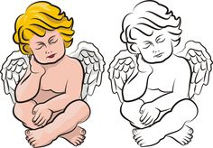SLEEPING ANGEL VECTOR clipart eps, ai, cdr, png, jpg, outlines drawing cherub, decoration ornament religion symbol, day of the dead icon by ottoflickvector on Etsy