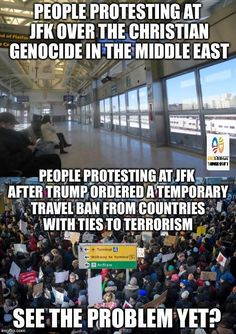 People protesting at JFK over the Christian genocide in the Middle East vs. I can't believe how easy it is to buy a liberal to protest. Liberal Hypocrisy, Liberal Logic, Politicians, Government Memes, Moslem, Out Of Touch, Double Standards, Persecution, Sick