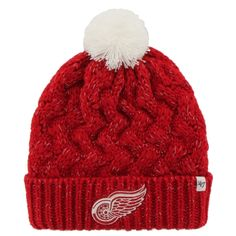793e100e480 Womens Detroit Red Wings Brand Red Fiona Knit Beanie - For my mom. She  loves bobble hats!