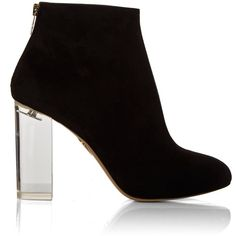 Charlotte Olympia Alba suede ankle boots ($905) ❤ liked on Polyvore featuring shoes, boots, ankle booties, black, ankle boots, suede boots, black suede bootie, suede bootie and short boots