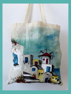 Santorini theme in this hand-painted, cotton, reusable tote bag. Eco Friendly Bags, One Bag, Reusable Bags, Santorini, Cotton Tote Bags, Hand Painted, Friends, Painting, Instagram