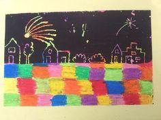 Bovenstaande afbeelding is een voorbeeld. Laat de kinderen op een vel allemaal gekleurde vierkantjes tekenen met oliepastel of vetkrijt. De leerkracht neemt een kwast en een potje dekzwart, die zorgt ervoor dat er niets meer te zien is van de gekleurde vierkantjes! Als het droog is kunnen de kinderen met een lange sateprikker vuurwerk tekenen.