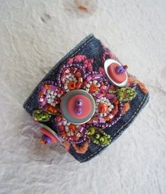 Beaded Jean Cuff Bracelet by TammyRoseDesigns on Etsy, $40.00