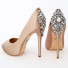 Badgley Mischka Shoes. Kiara in latte is a fabulous neutral for formal affairs & with dark ivory wedding gowns. Bridal shoes that make a grand exit.
