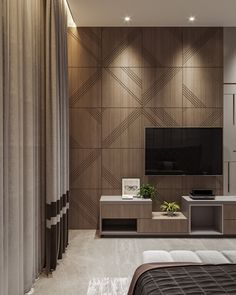 ULTRAMODERN MASTER BEDROOM on Behance Bedroom Tv Unit Design, Lcd Unit Design, Tv Unit Bedroom, Tv Unit Interior Design, Lcd Panel Design, Tv Unit Furniture Design, Wall Unit Designs, Living Room Partition Design, Living Room Tv Unit Designs