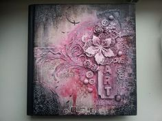 Altered book cover made with Lindys starburst and acrylics. Love the Lindys sprays so much..beautiful colours