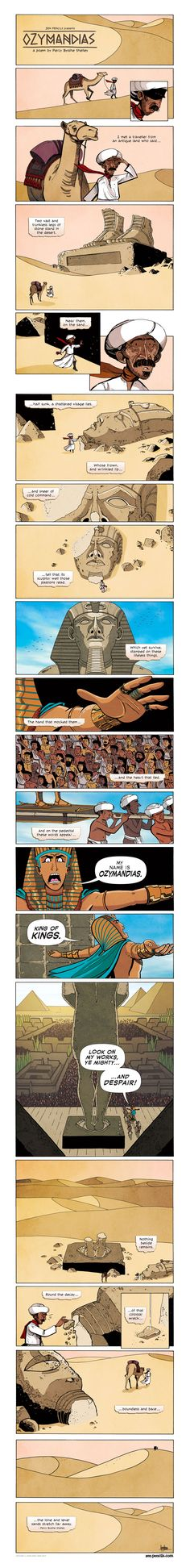 This is a prime example how illustrations can add to a literary work. ZEN PENCILS » 166. PERCY BYSSHE SHELLEY: Ozymandias